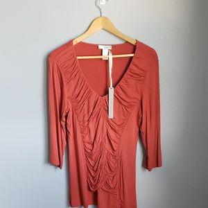 Kenar orange ¾ sleeve top with ruche detail